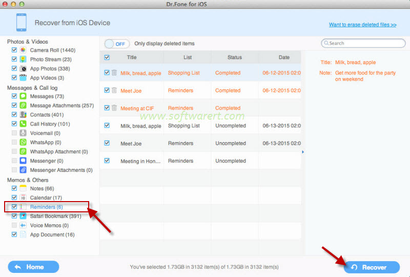 recover deleted reminders from iphone on mac