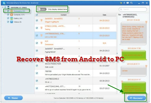 recover deleted sms text messages on android