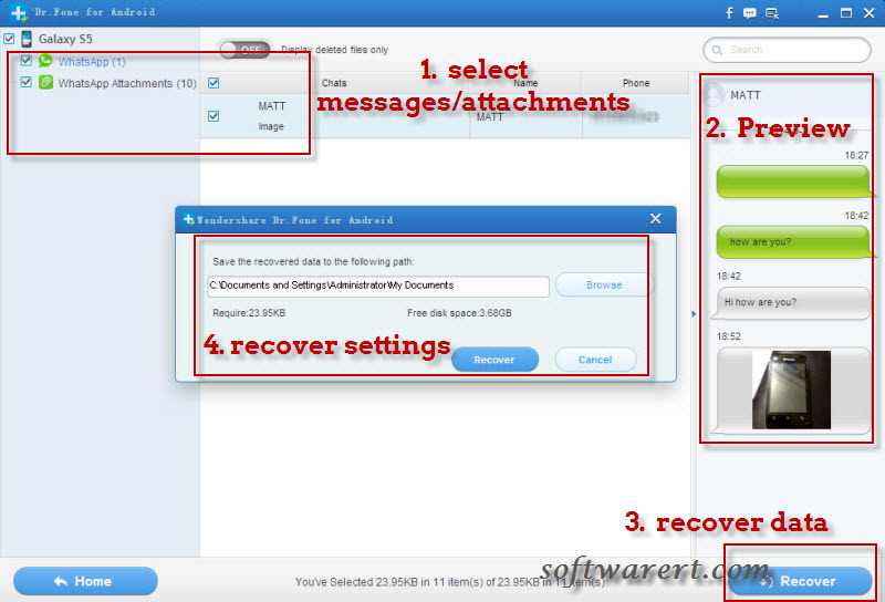 recover deleted whatsapp messages and attachments from samsung phone
