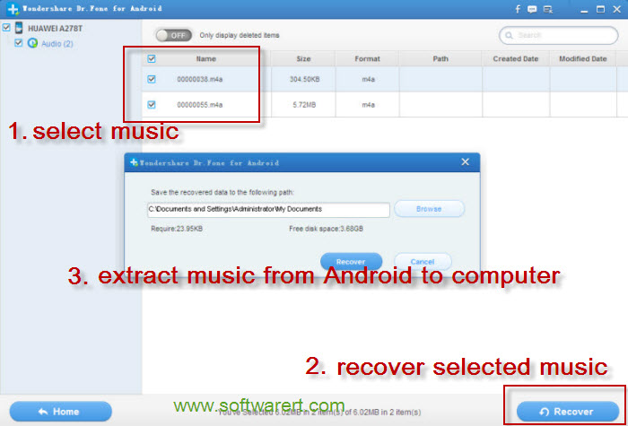recover music on android