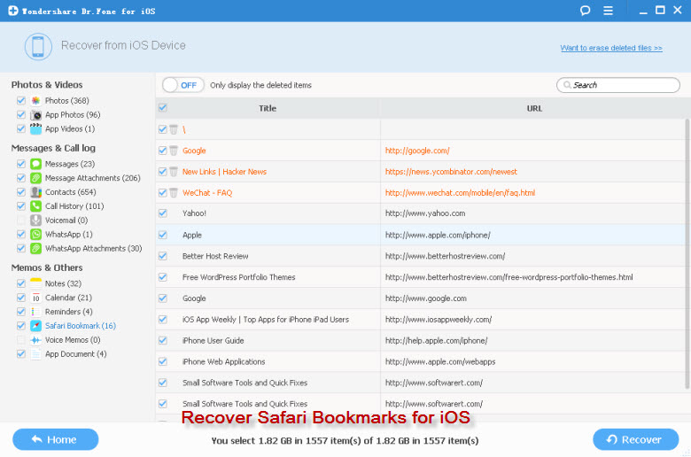 recover safari bookmark iphone ipad