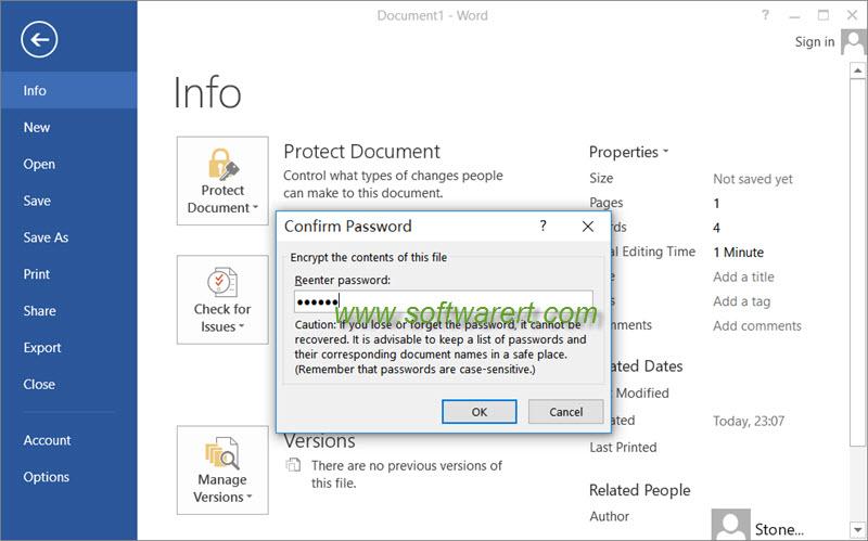 reenter password to encrypt word document