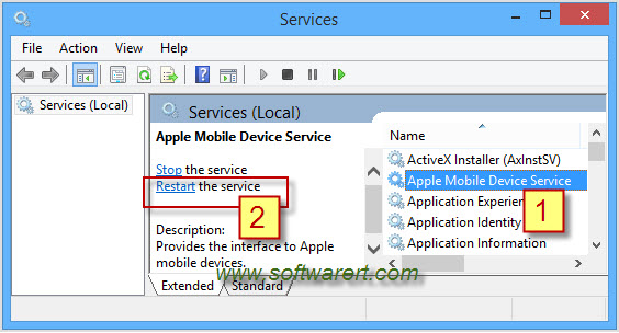 restart apple mobile device service on windows computer