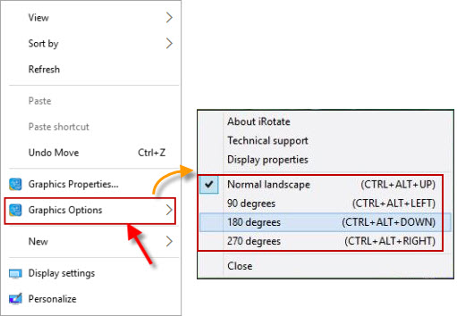 windows how to change display orientation