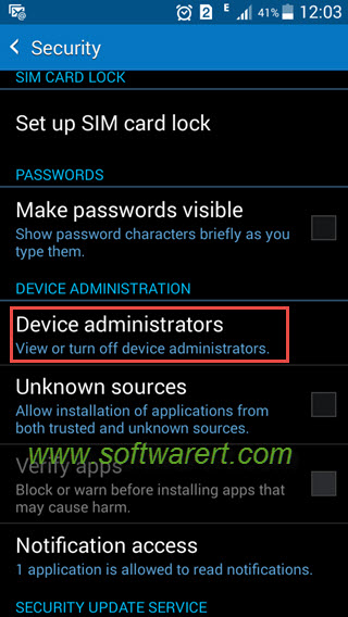samsung phone settings security device administrators