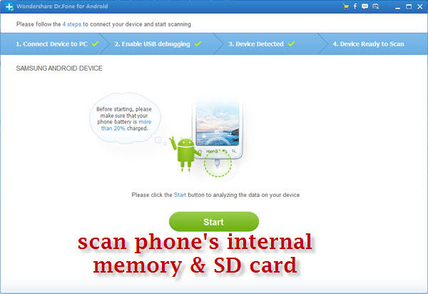 scan android phone and its memory card