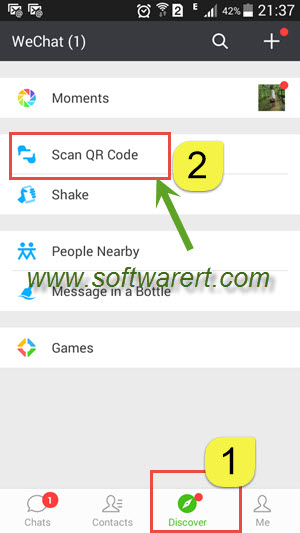 scan qr code using wechat on android phone