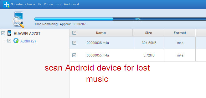 scan and search lost music from android