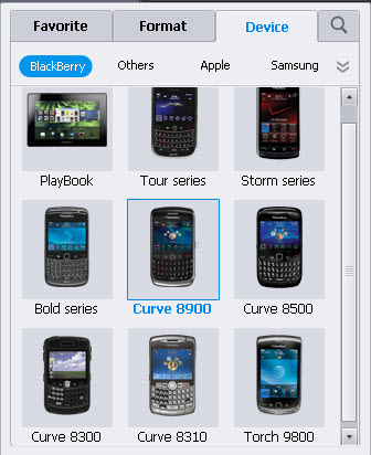 select blackberry video format and profile