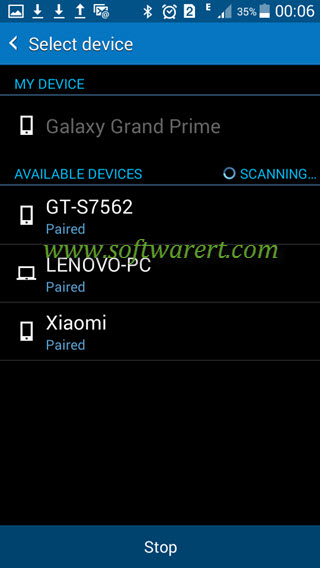 select and connect device via bluetooth from samsung mobile phone