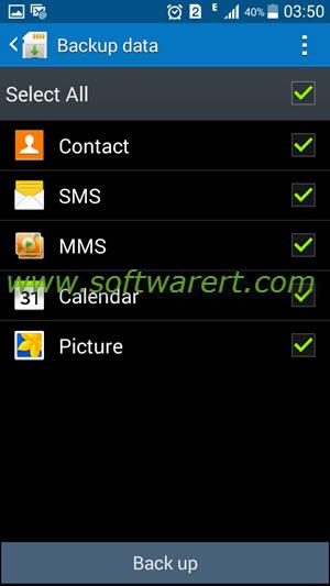select data to backup samsung mobile