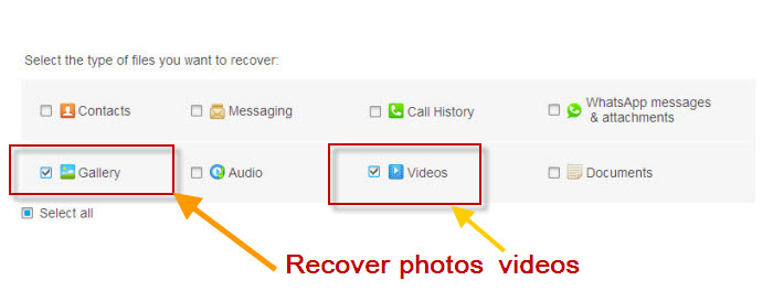 select and recover photos videos from samsung phones