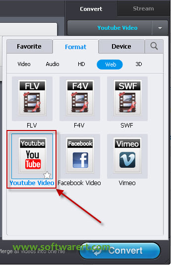 select youtube video format