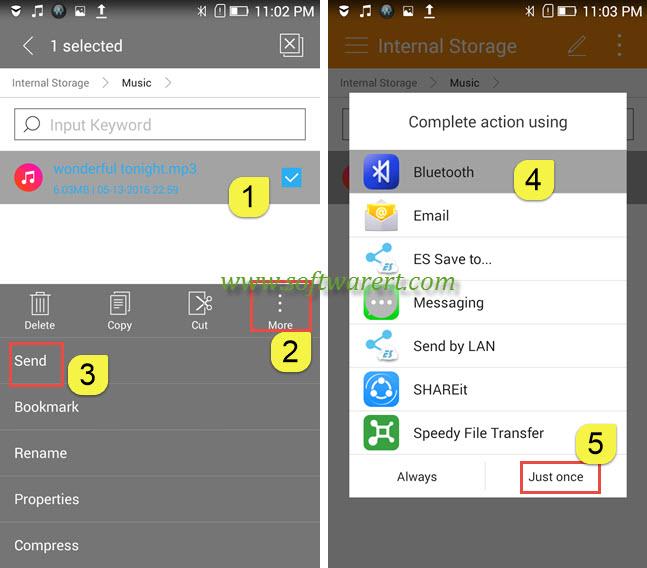 send music via bluetooth from lenovo mobile phone