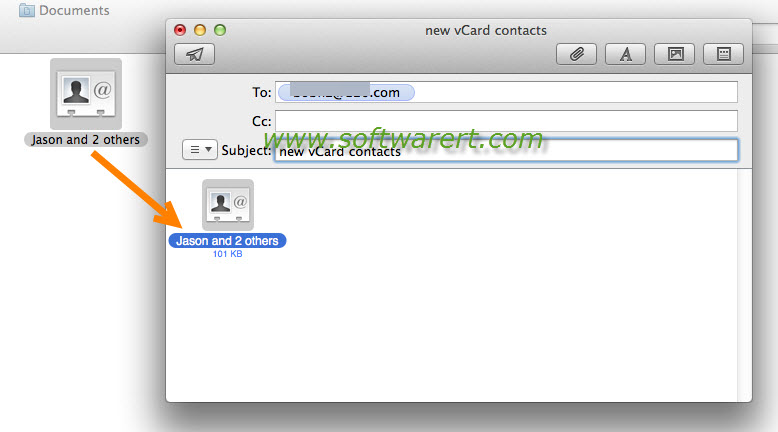 send vcard contacts through email on mac