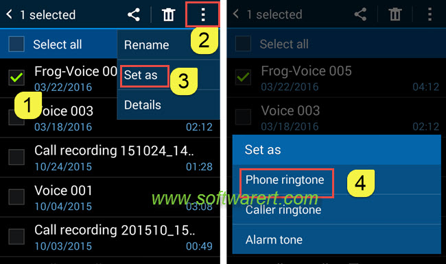Set a voice recording as ringtone on Samsung phone
