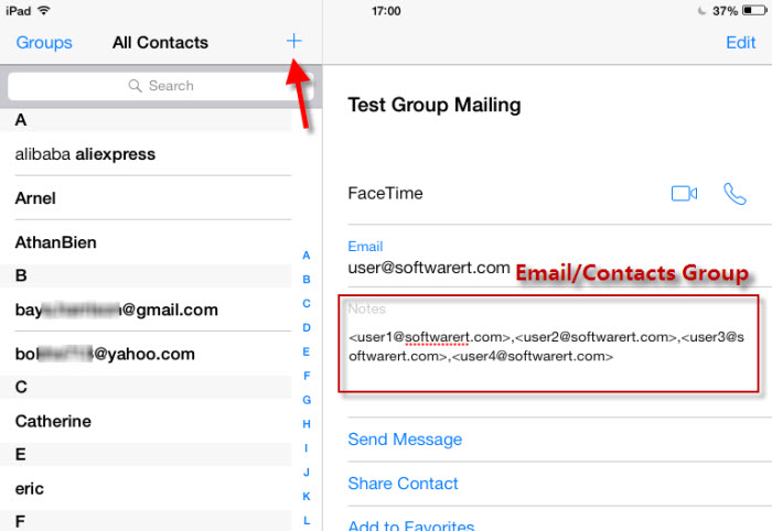 setup email contact group on ipad iphone