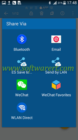 share files via bluetooth from es file manager on android phone