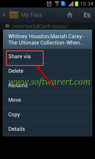 share music from file manager on android