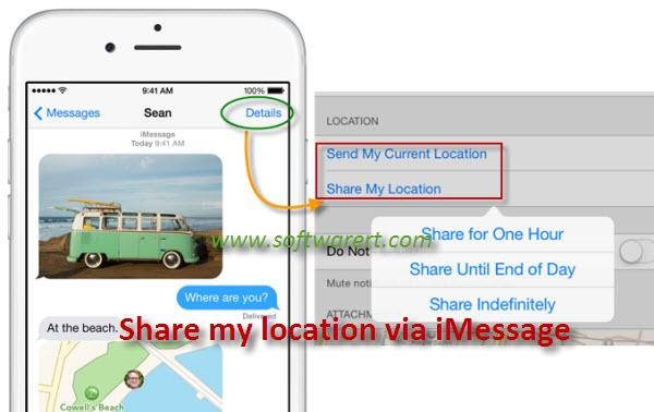 share my location via imessage on iPhone