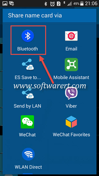share name card via bluetooth from samsung mobile phone