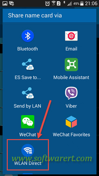 share name card via wifi direct from samsung mobile phone