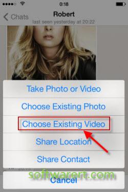 share video on iphone using whatsapp