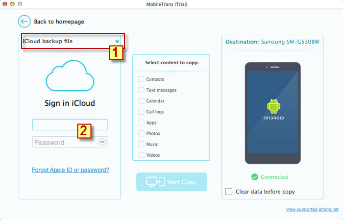 how to get contacts from icloud to android