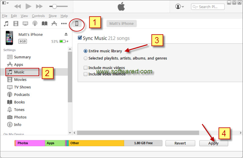 sync itunes music library from pc to iphone using itunes 12