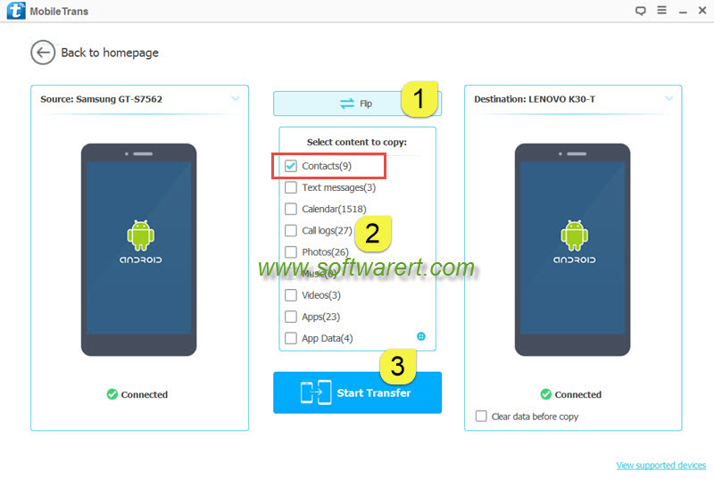 transfer contacts between samsung and lenovo phones