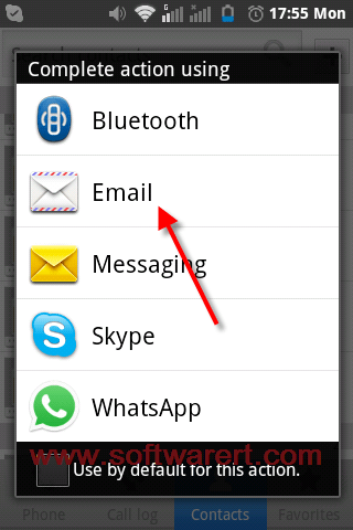 transfer contacts through email from android