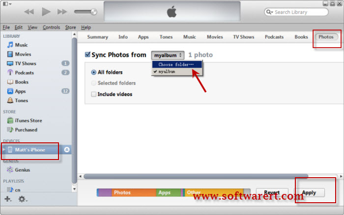 transfer photos from computer to ipad iphone with itunes