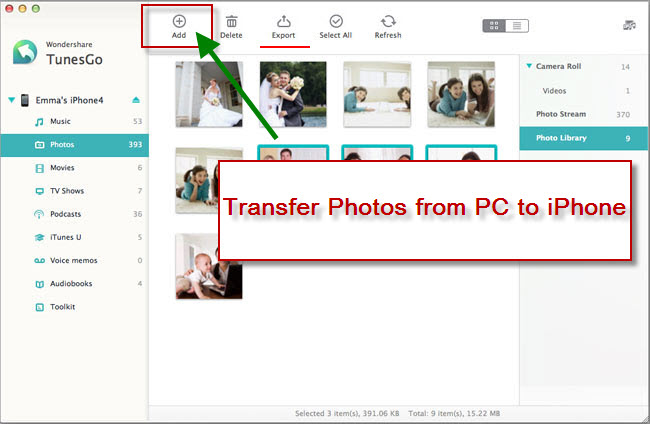 transfer photos from PC to iPhone using Tunesgo