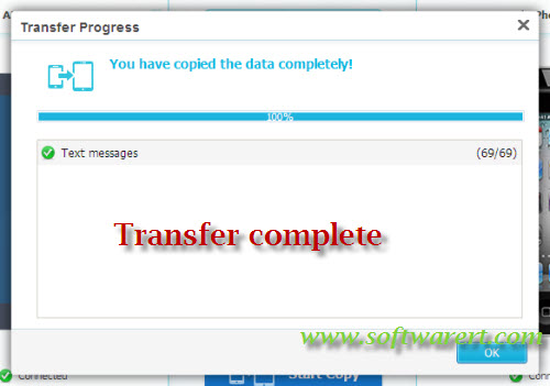 SMS transfer progress complete