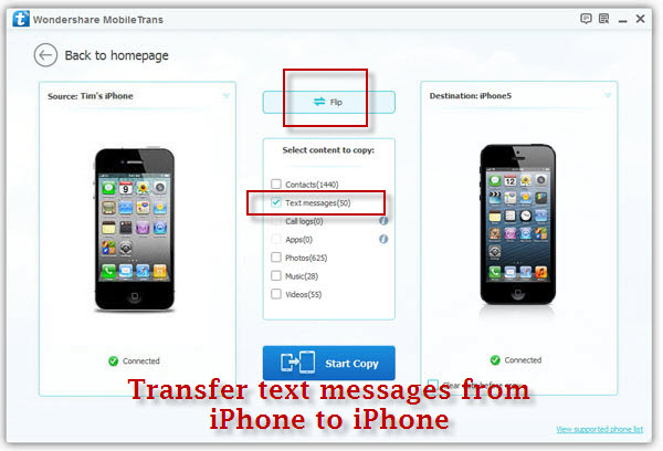 transfer text messages from iphone to iphone