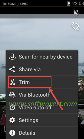 trim video on samsung mobile phone using video player app