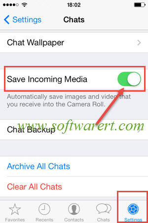 save incoming media from Whatsapp to iphone