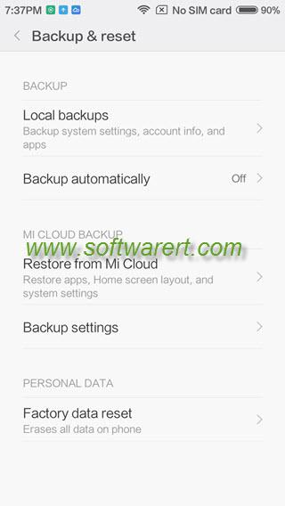 xiaomi phone backup and reset settings