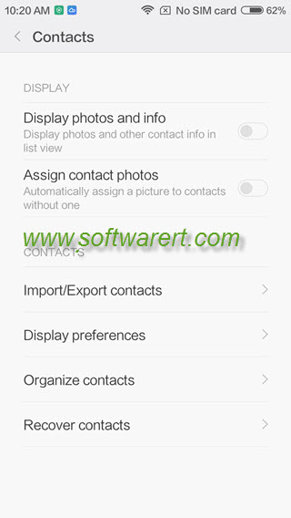xiaomi phone contacts management main menu