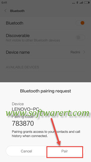 xiaomi redmi and pc bluetooth pairing request