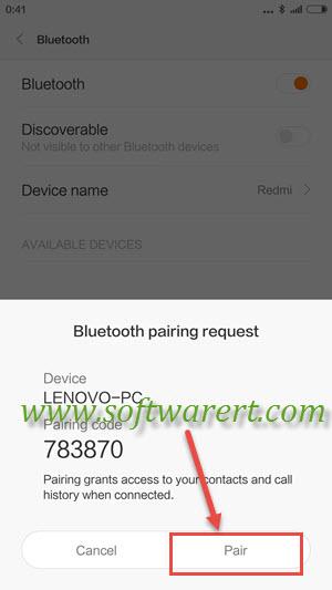 xiaomi redmi and pc bluetooth pairing request
