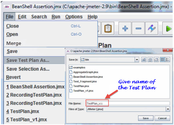 Saving a JMeter Test Plan