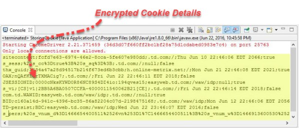 Encrypted Cookies In Web Browser