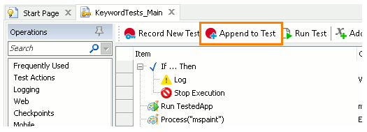 TestComplete Append To Test