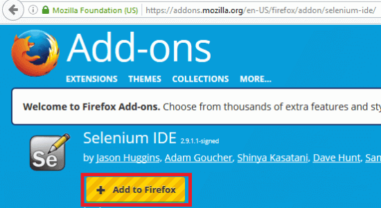 Install Selenium IDE - Click on Add to firefox