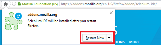 Install Selenium IDE - Click on Restart Now