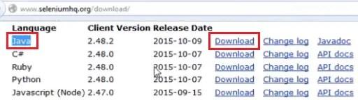 Install Selenium WebDriver - Download Java Version