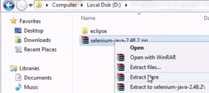 Install Selenium WebDriver - Extract File