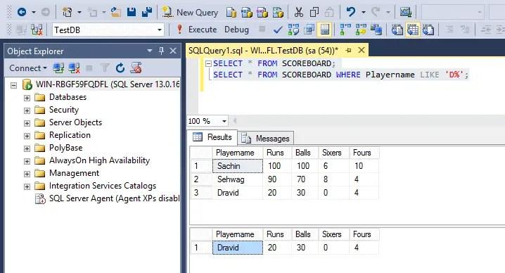 SQL Like Operator With Wildcard