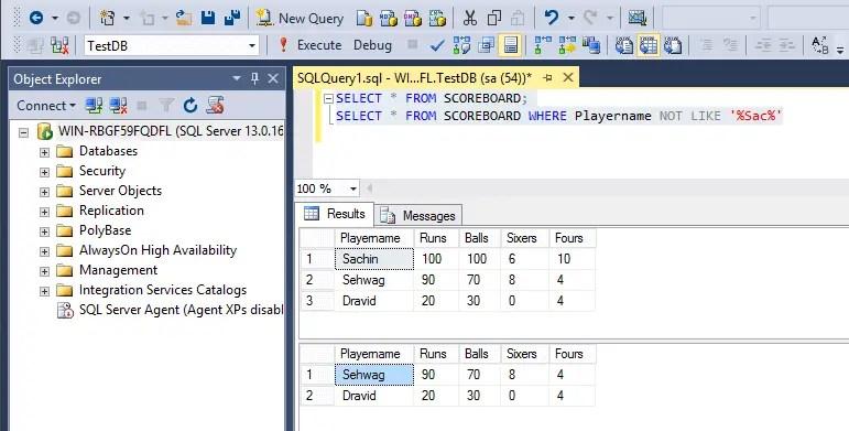 SQL Not Like